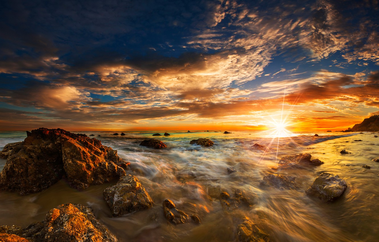 Wallpaper sea beach the sky the sun clouds rays stones dawn 1332x850