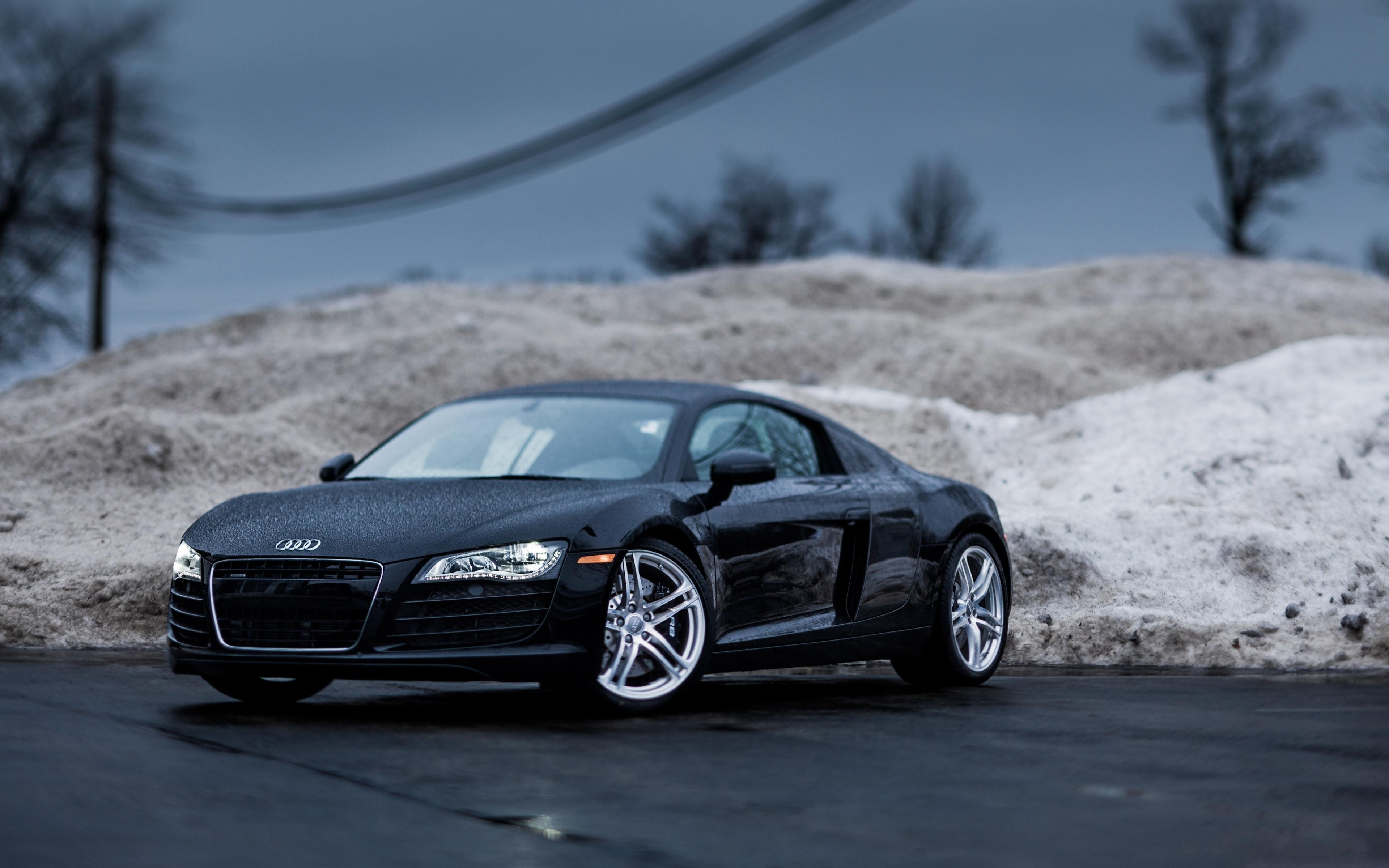 4K wallpaper   Cars   audi r8 Rain tilt shift Roadster audi r8 3840x2400