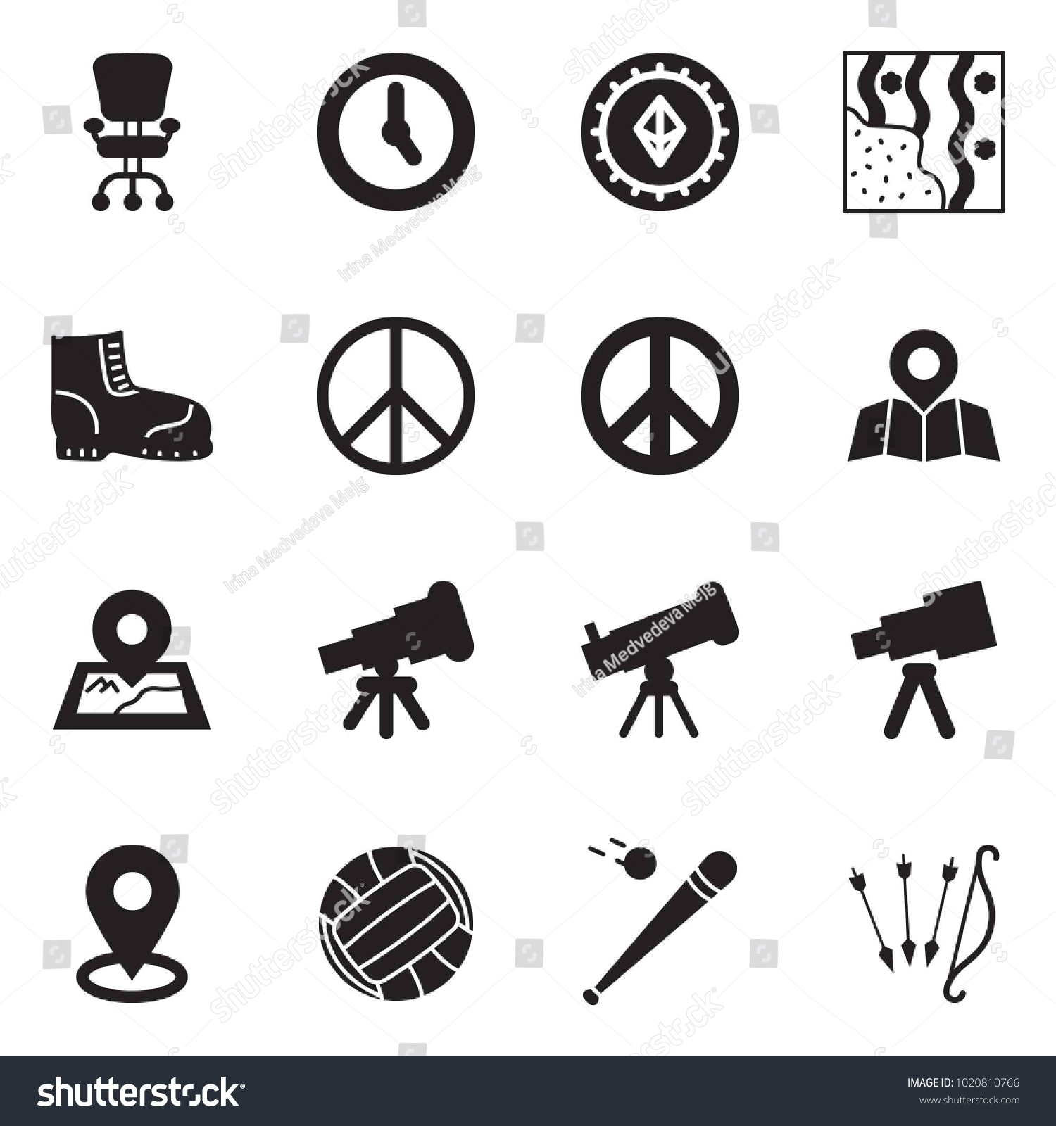 Solid Black Vector Icon Set Office Stock Vector Royalty 1500x1600
