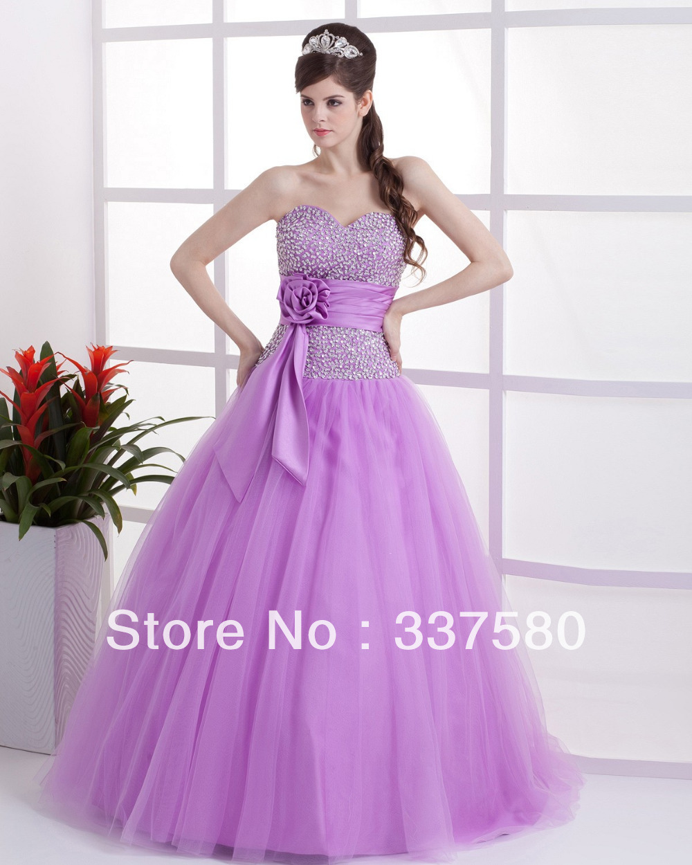 Wholesale Sweet 16 Purple Tulle Masquerade Dress with Sequins Flowers 1000x1250