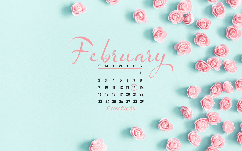 February 2020   Valentines Flowers Desktop Calendar  February 1440x900