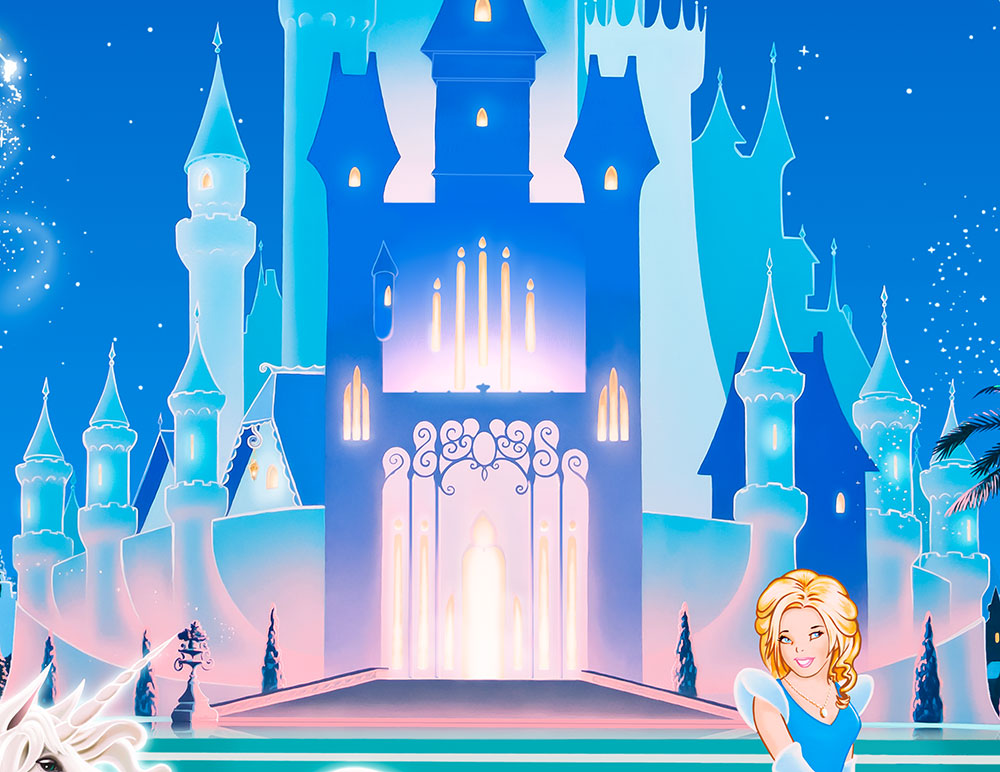Princess castle wallpaper wallpapersafari for Disney castle mural wallpaper
