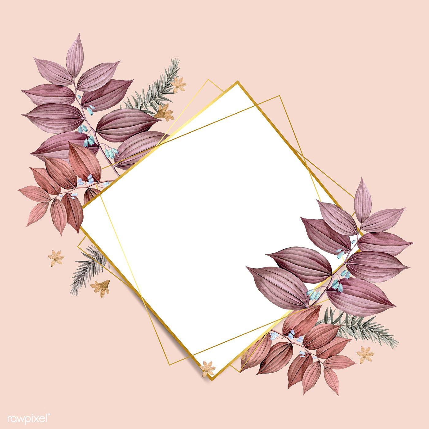 Download premium vector of Rhombus foliage frame on pastel peach 1400x1400
