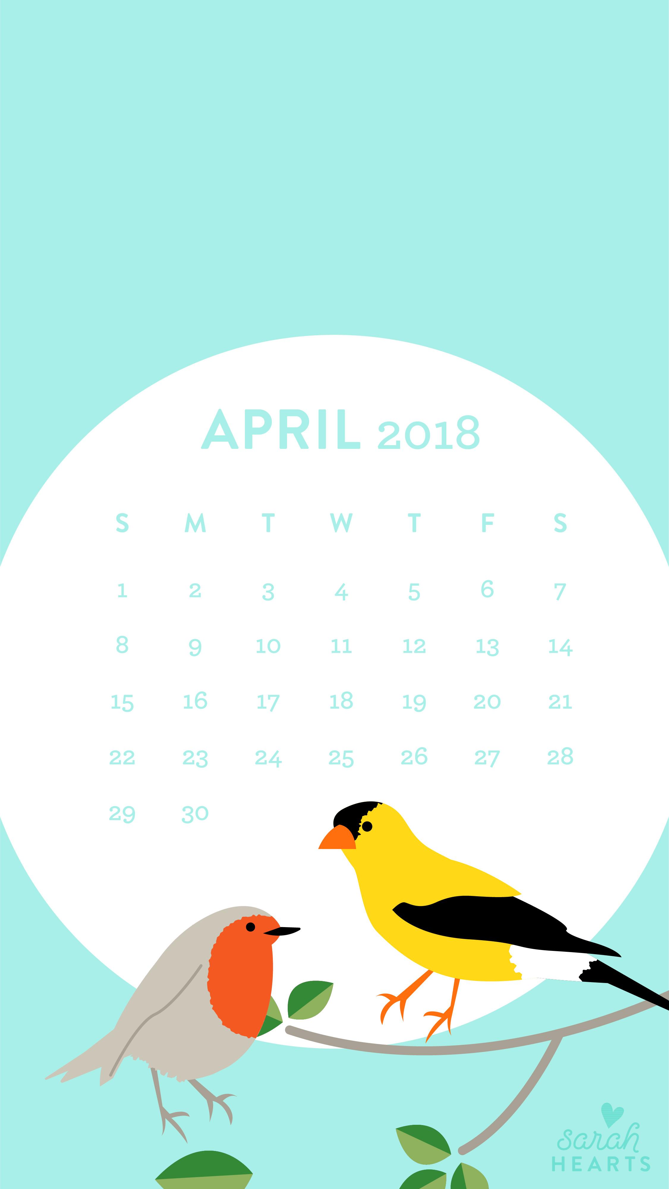 April 2018 Bird Calendar Wallpaper   Sarah Hearts 2251x4000