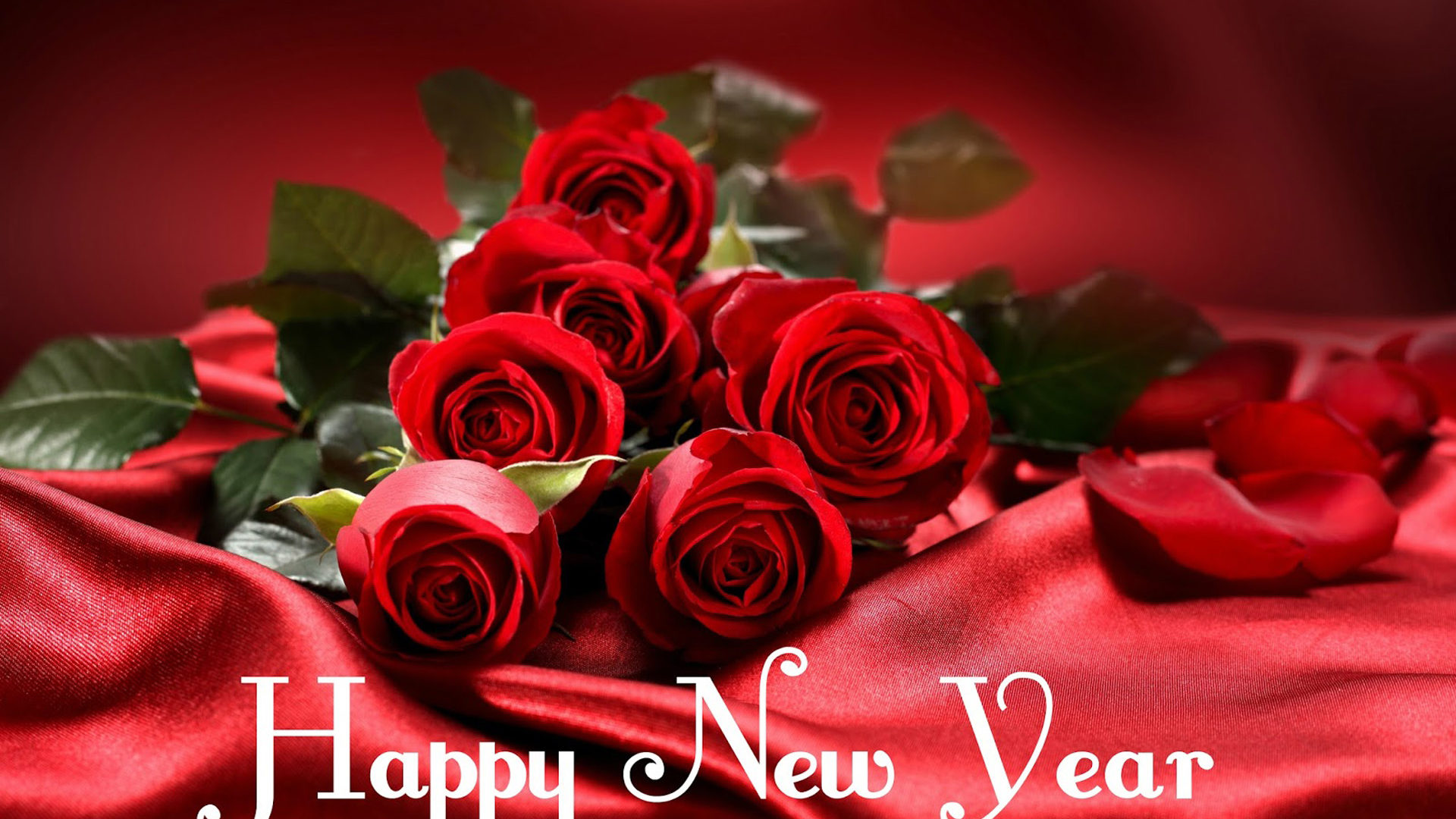Happy New Year Red Roses Flower Images 2020 Greeting Card 1920x1080