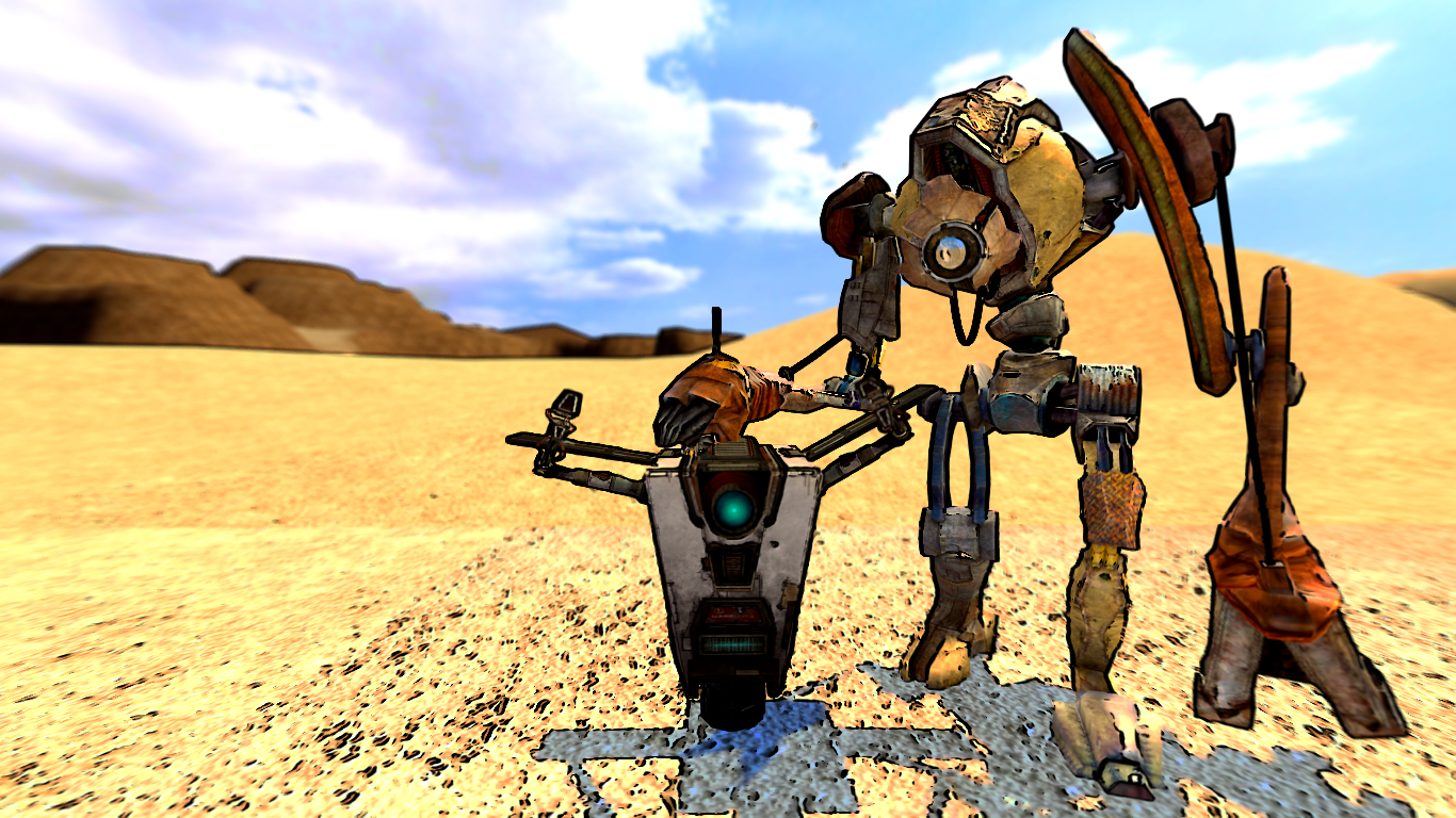 Dog and Claptrap wallpaper by Sethial 1366x768