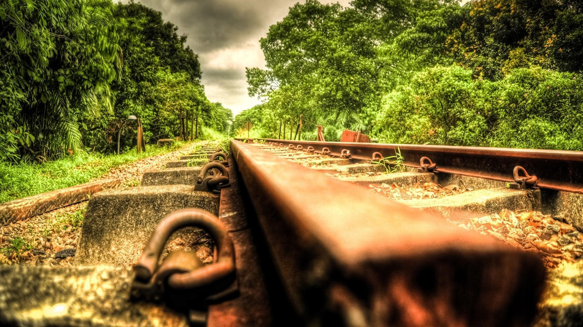 Hdr photography landscapes nature railroads railroad tracks wallpaper 1920x1080
