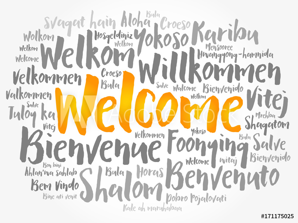 Fotografie Obraz WELCOME word cloud in different languages 1000x750