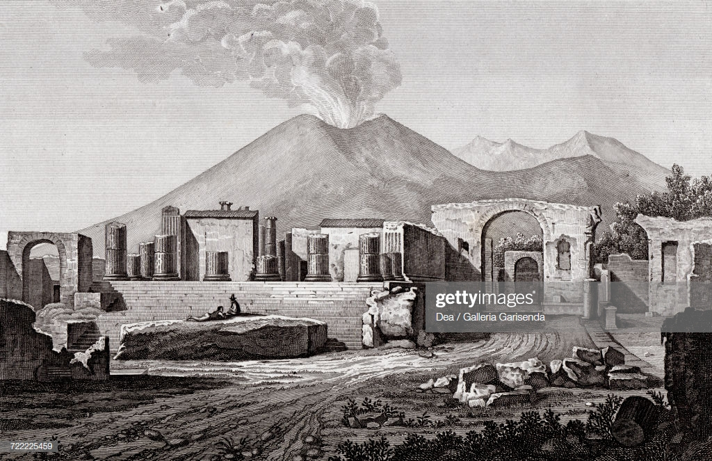 Temple Of Jupiter In Pompeii With Mount Vesuvius In Background 1024x663