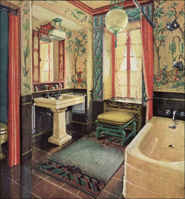 Chinese Style Bathroom Yellow Red Black