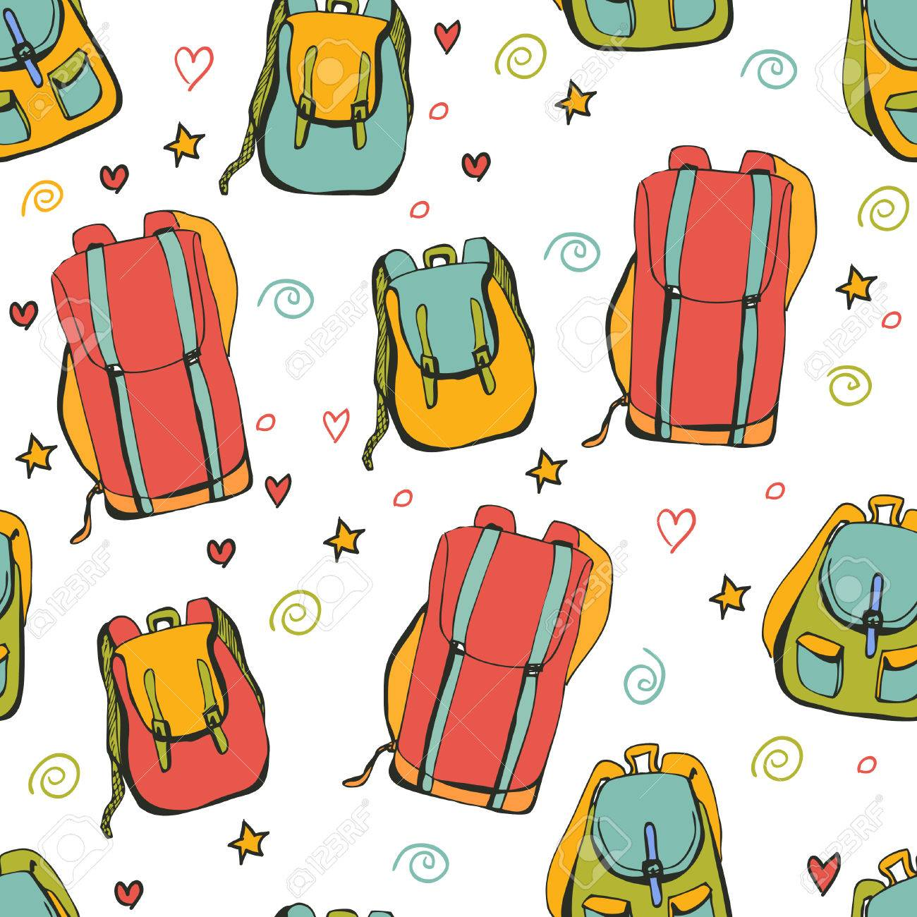 Vector Seamless Pattern Bright Backpacks Blue Red Yellow And 1300x1300