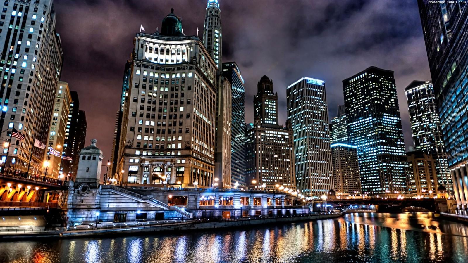 39 Chicago Night Skyline Wallpaper On Wallpapersafari
