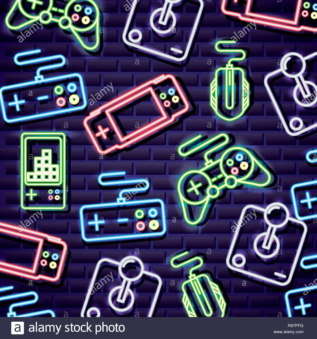 neon video games controls tetris mouse background vector 1300x1390