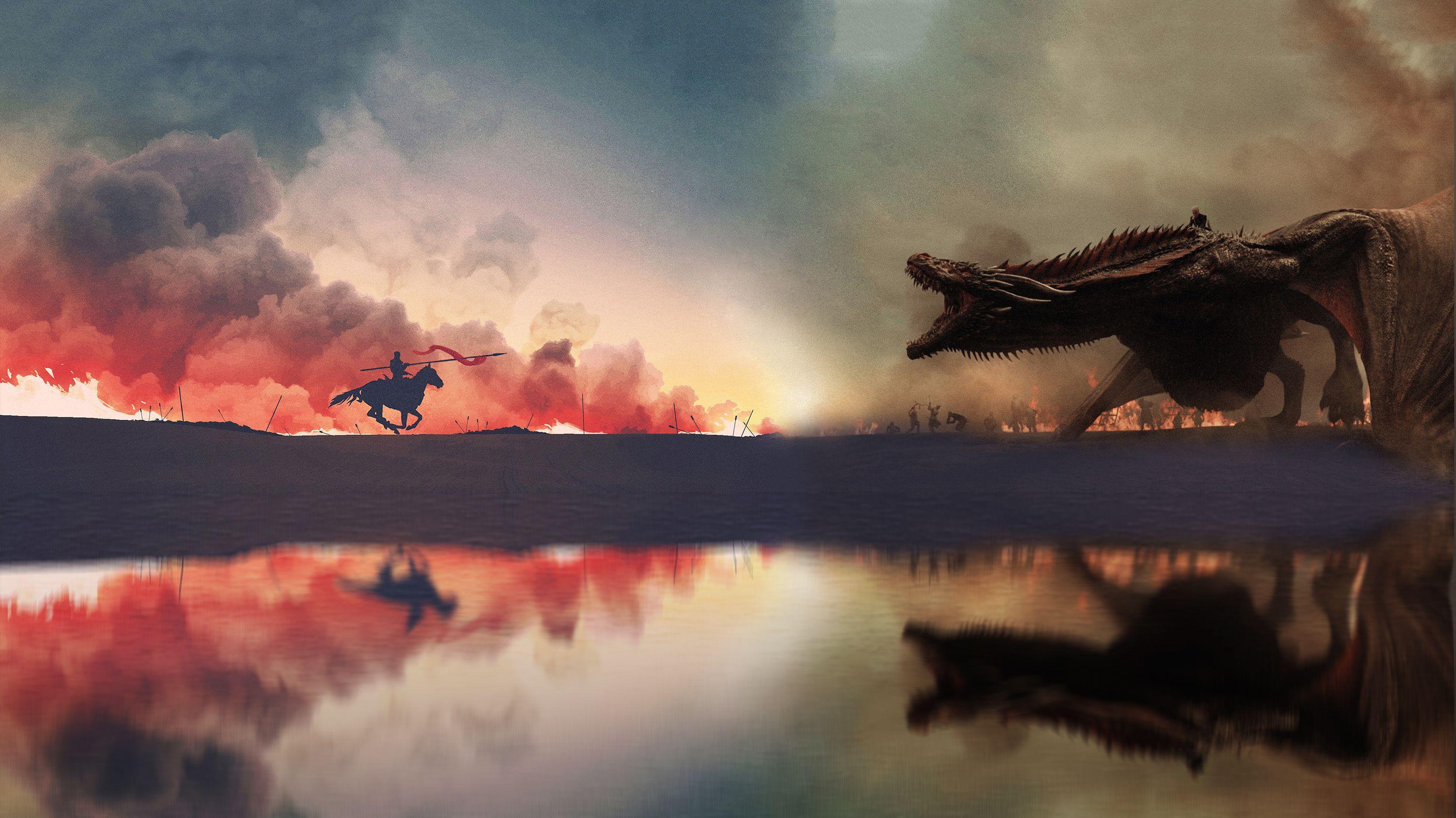 Game Of Thrones War Has Started Artwork 4k 6v Ultra Hd Wallpaper 3332x1874