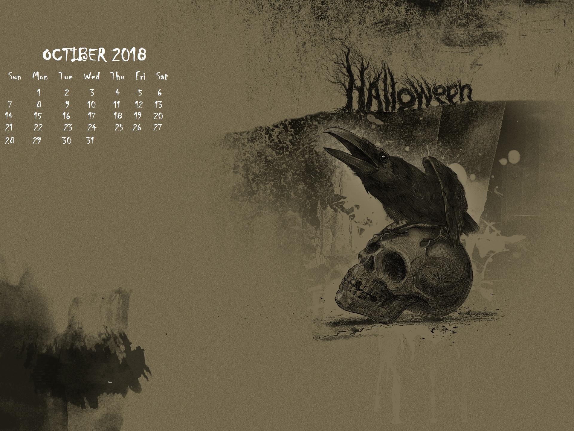 October 2018 Screensaver Backgrounds Calendar 2018 1920x1440
