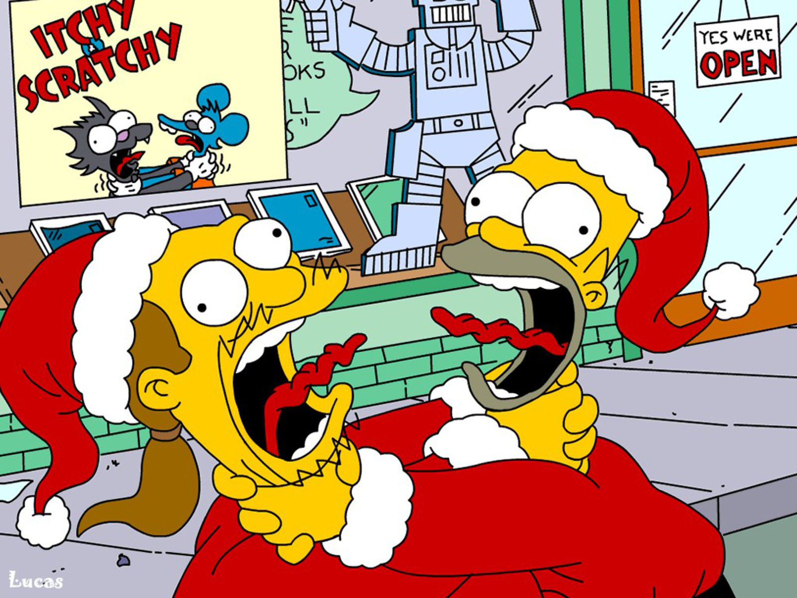 Pics Photos   Simpsons Funny Christmas Hd Wallpapers 1600x1200