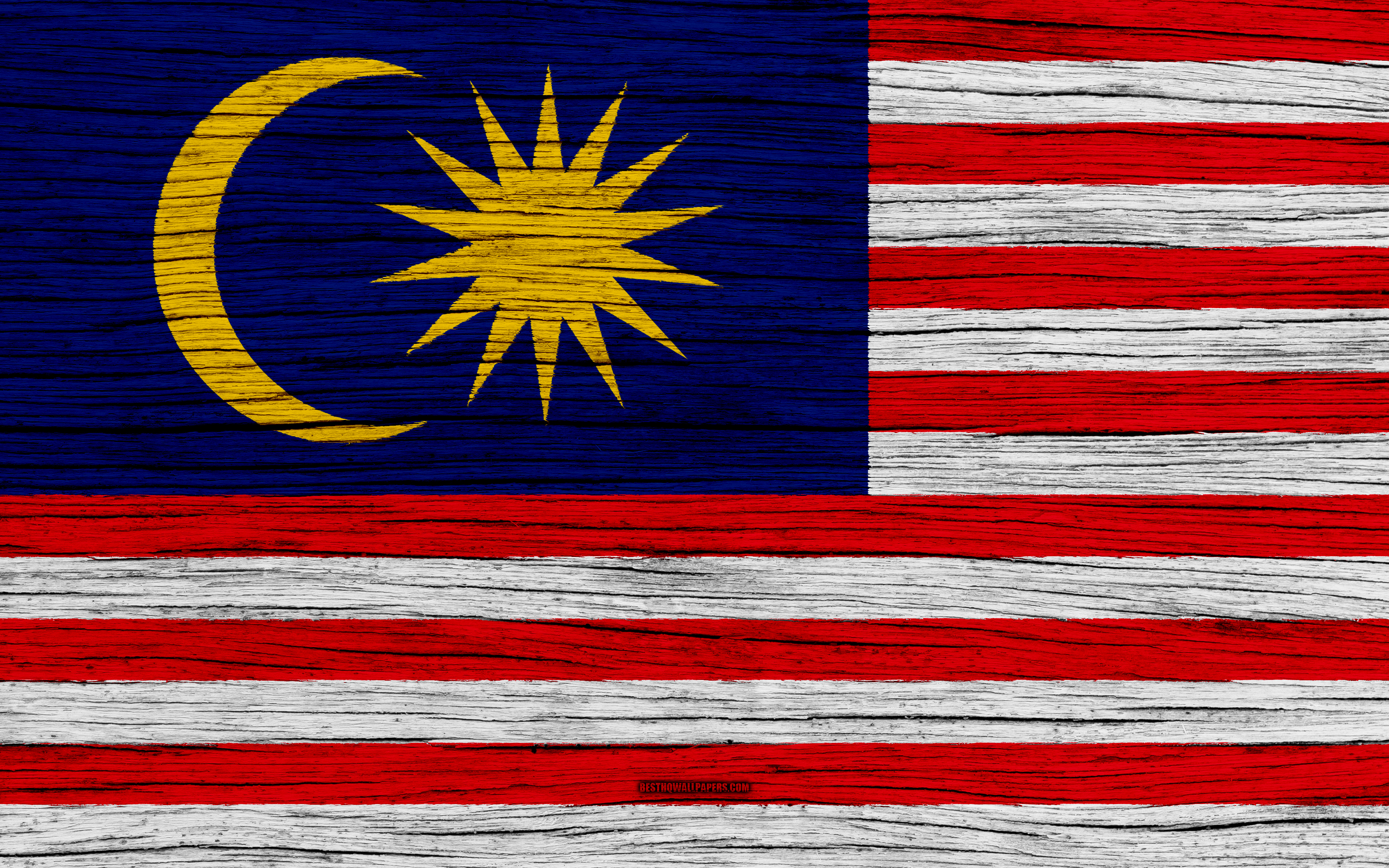 Download wallpapers Flag of Malaysia 4k Asia wooden texture 3840x2400