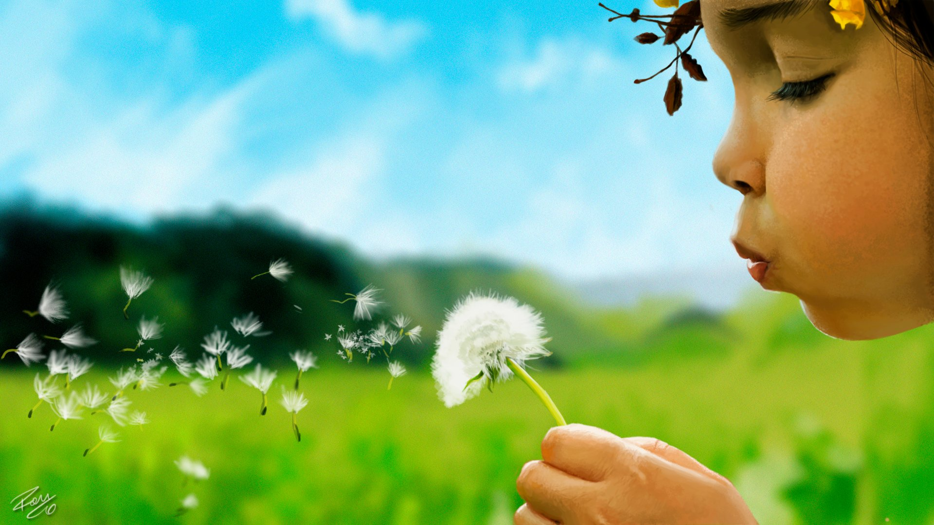 Little girl blowing a dandelion by RamonFelinto 1920x1080