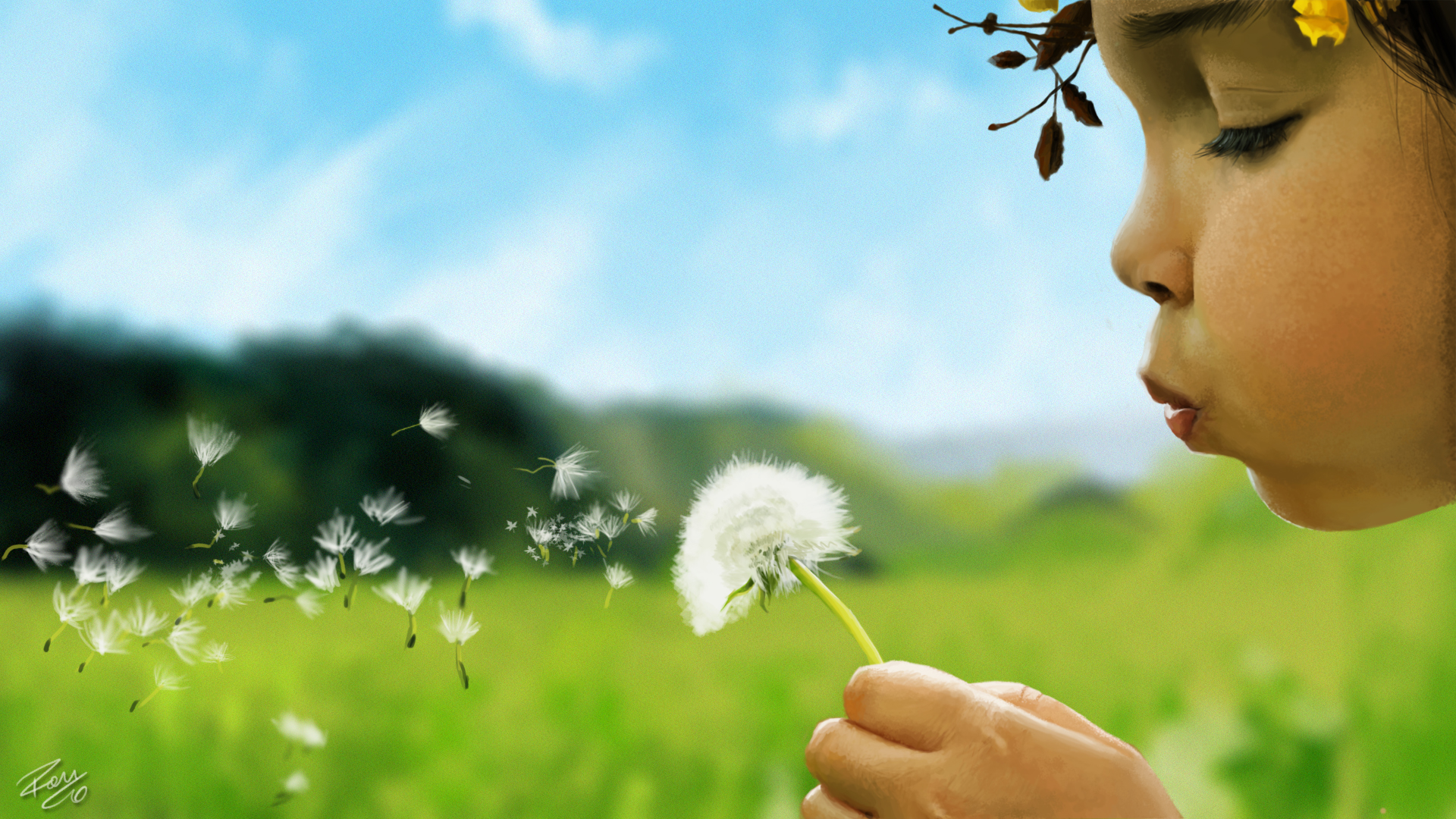 Little girl blowing a dandelion by RamonFelinto on DeviantArt