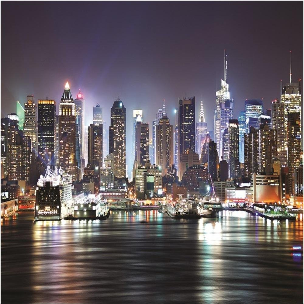 Rainbow New York At Night Wallpaper Mural Photo Giant Wall Decor 1000x1000