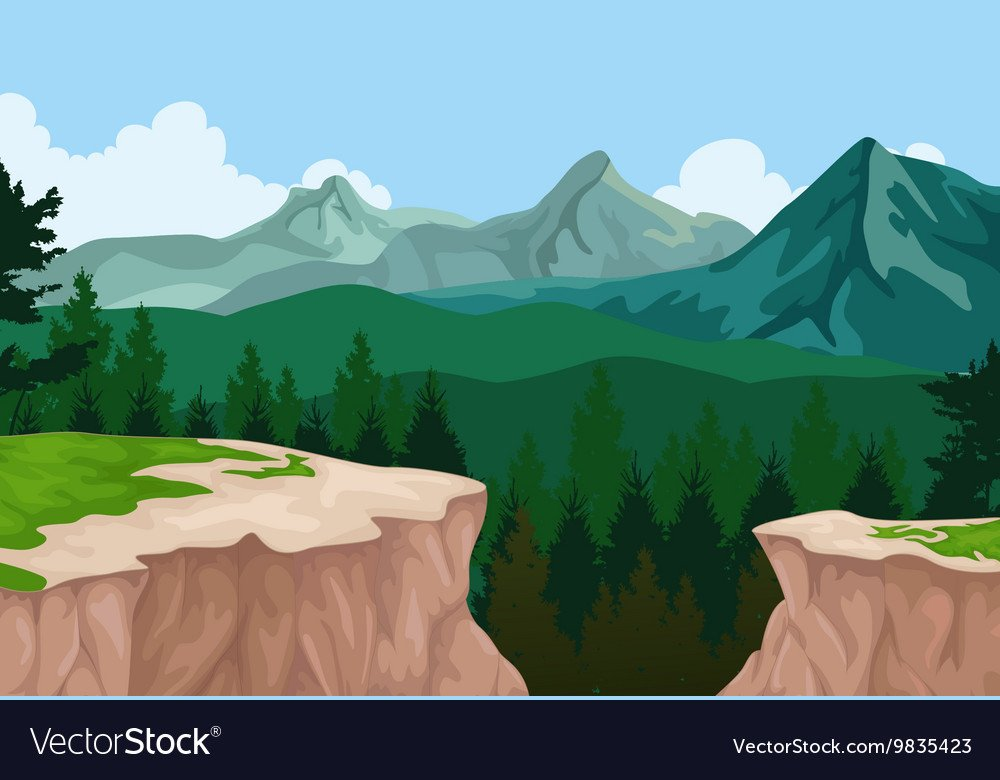 Beauty mountain cliff landscape background Vector Image 1000x780