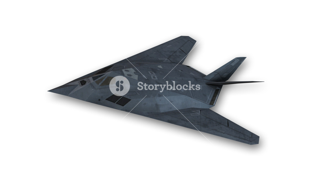 Stealth aircraft in flight plane isolated on white background 1000x563