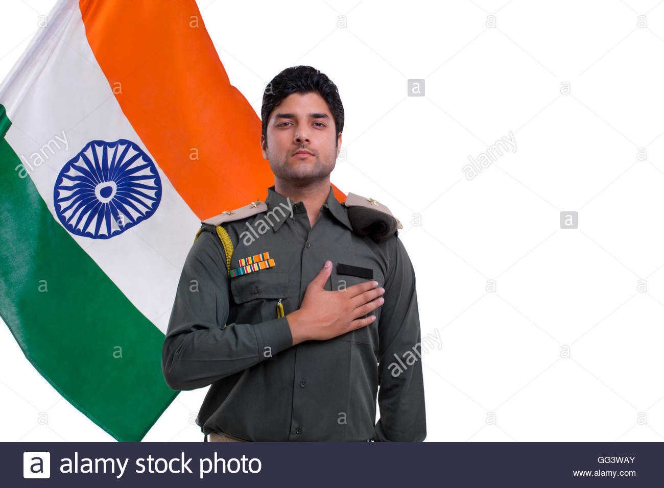 security guard taking a pledge with Indian flag in the background 1300x956