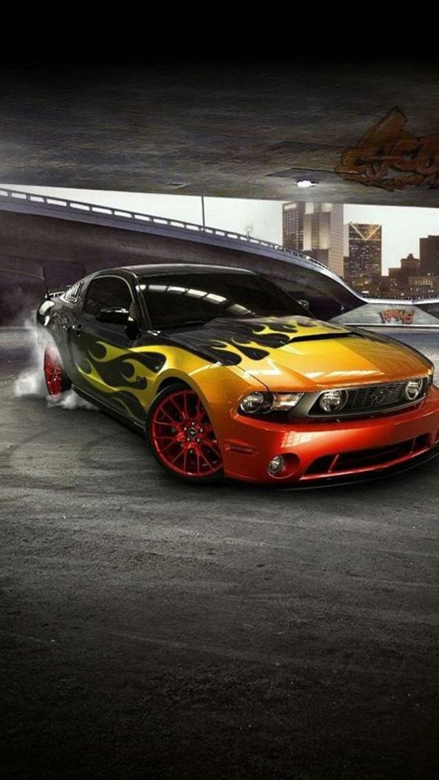 iphone 5 wallpapers hd COOL MUSTANG FRONT CAR IPHONE 5 WALLPAPERS 640x1136