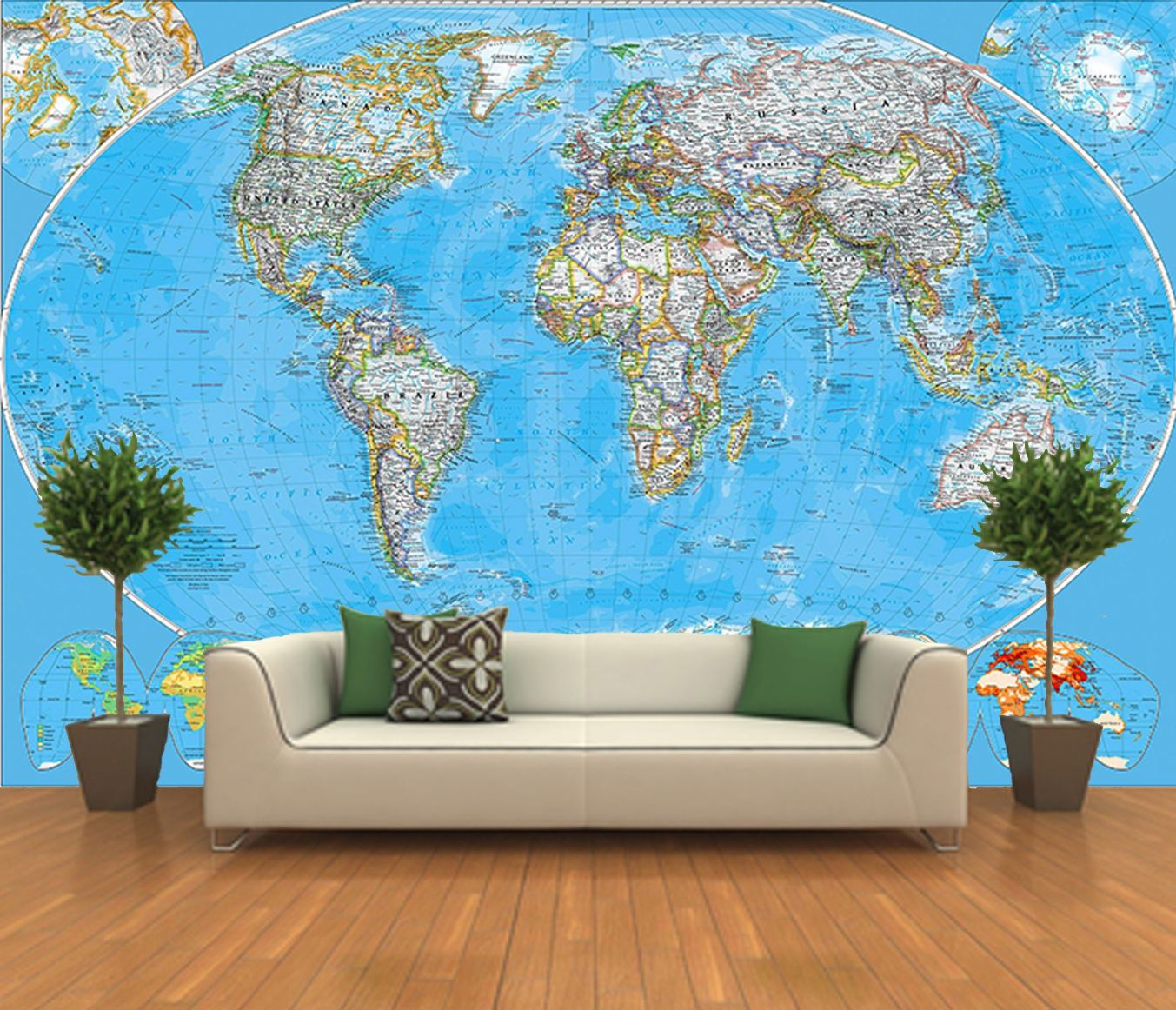 Self Adhesive World Map Decorating photo wall Mural wallpaper peel and 1353x1162