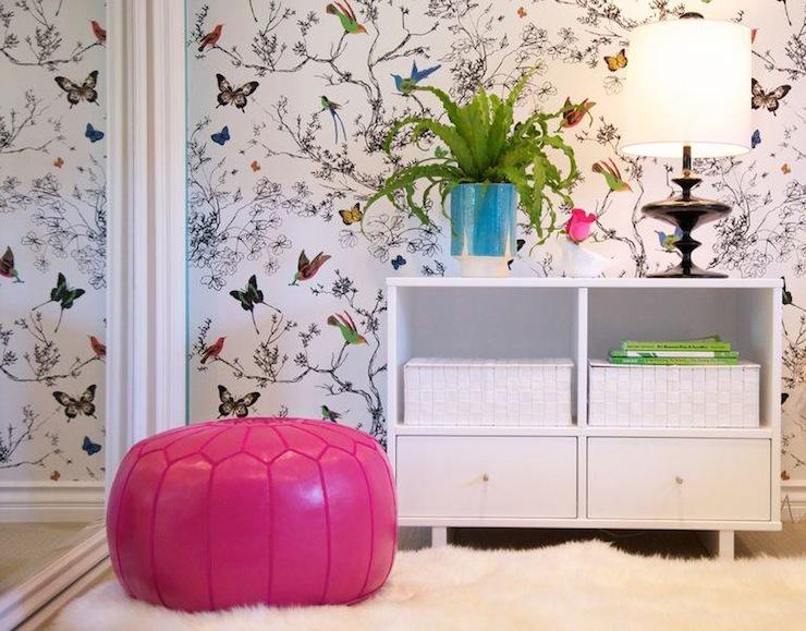 Schumacher Birds and Butterflies Wallpaper Contemporary girls room 740x579