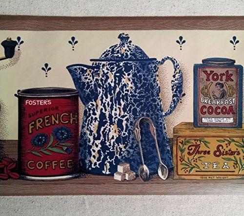 Border Pattern PB8677B 7 Inches Wide Coffee Grinder Wallpaper Border 500x442