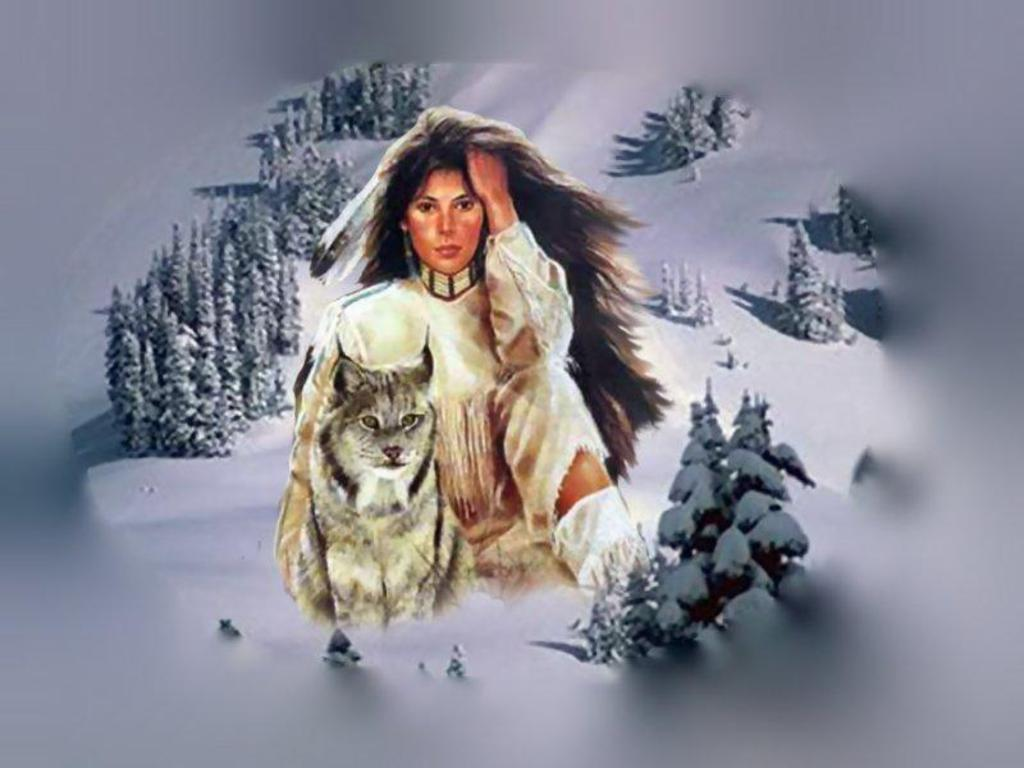 Native American Woman and Wolf Wallpaper oly7ljpg 1024x768