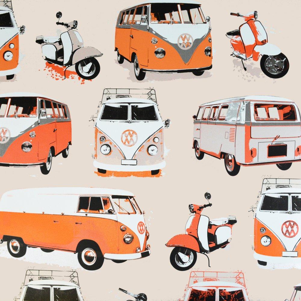 Love Wallpaper VW Camper Van Scooter Wallpaper Orange Cream 1000x1000