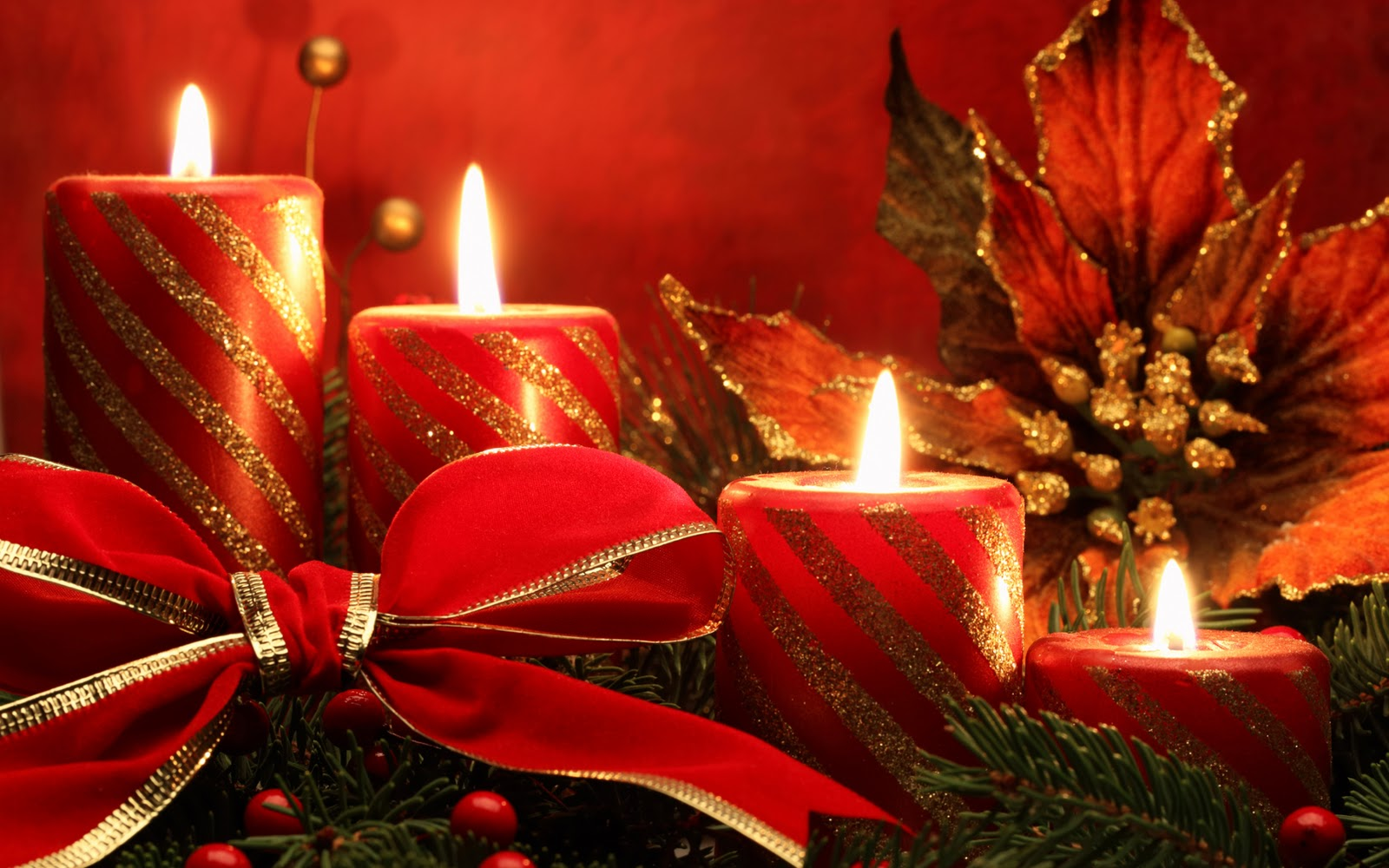 Christmas Candles Hd Desktop Wallpaper 1600x1000