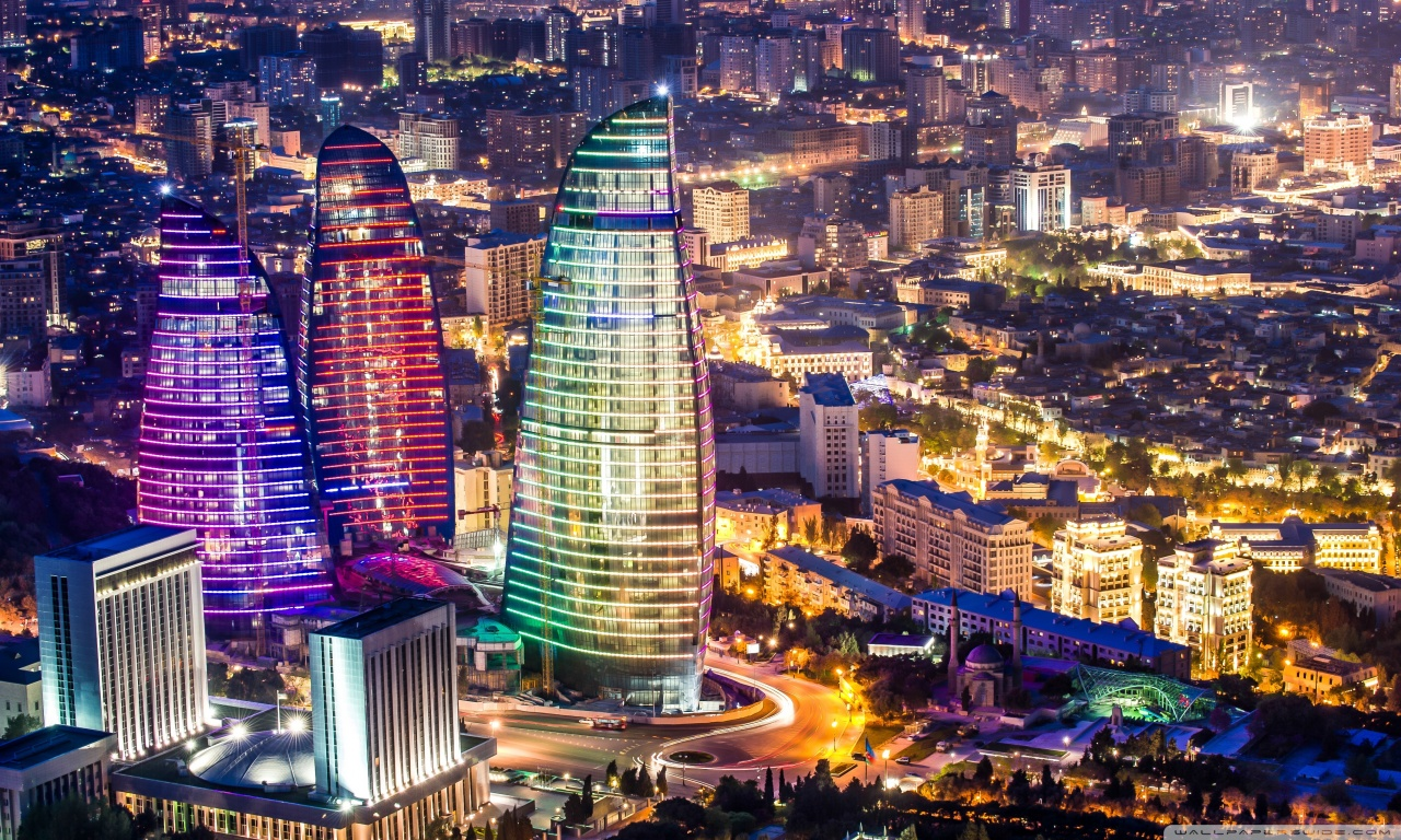 Flame Towers Baku Azerbaijan 4K HD Desktop Wallpaper for 1280x768