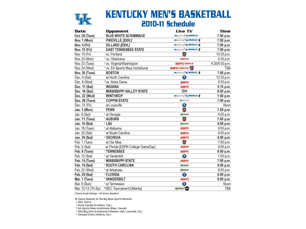 picture relating to Kentucky Basketball Schedule Printable titled 50+] Wallpaper Razorback Soccer 2016 Program upon