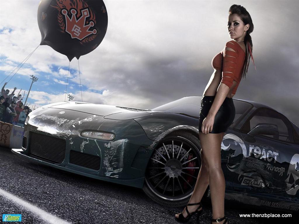 NFSU car girl wallpaper desktop PC picture 1024x768