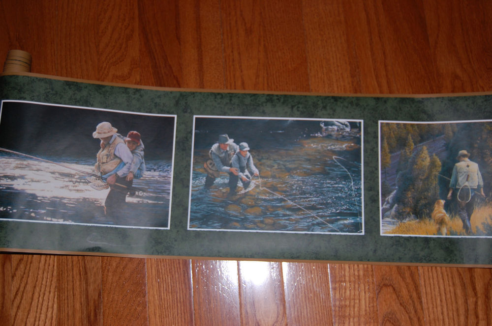 Fishing Father Son Outdoors Country Man Cave Wallpaper Border eBay 1000x664