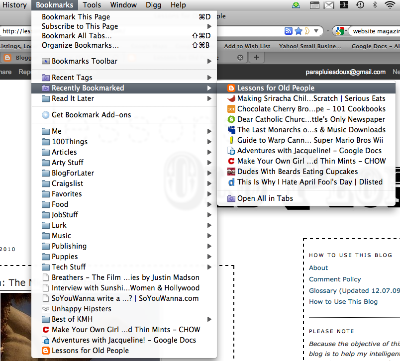 you can check out your new bookmark by clicking the bookmarks menu and 804x726