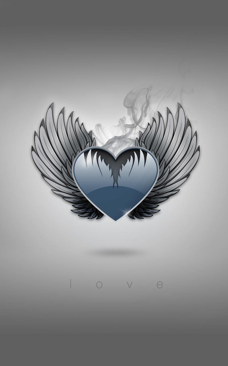 Heart with wings Wallpaper 800x1280