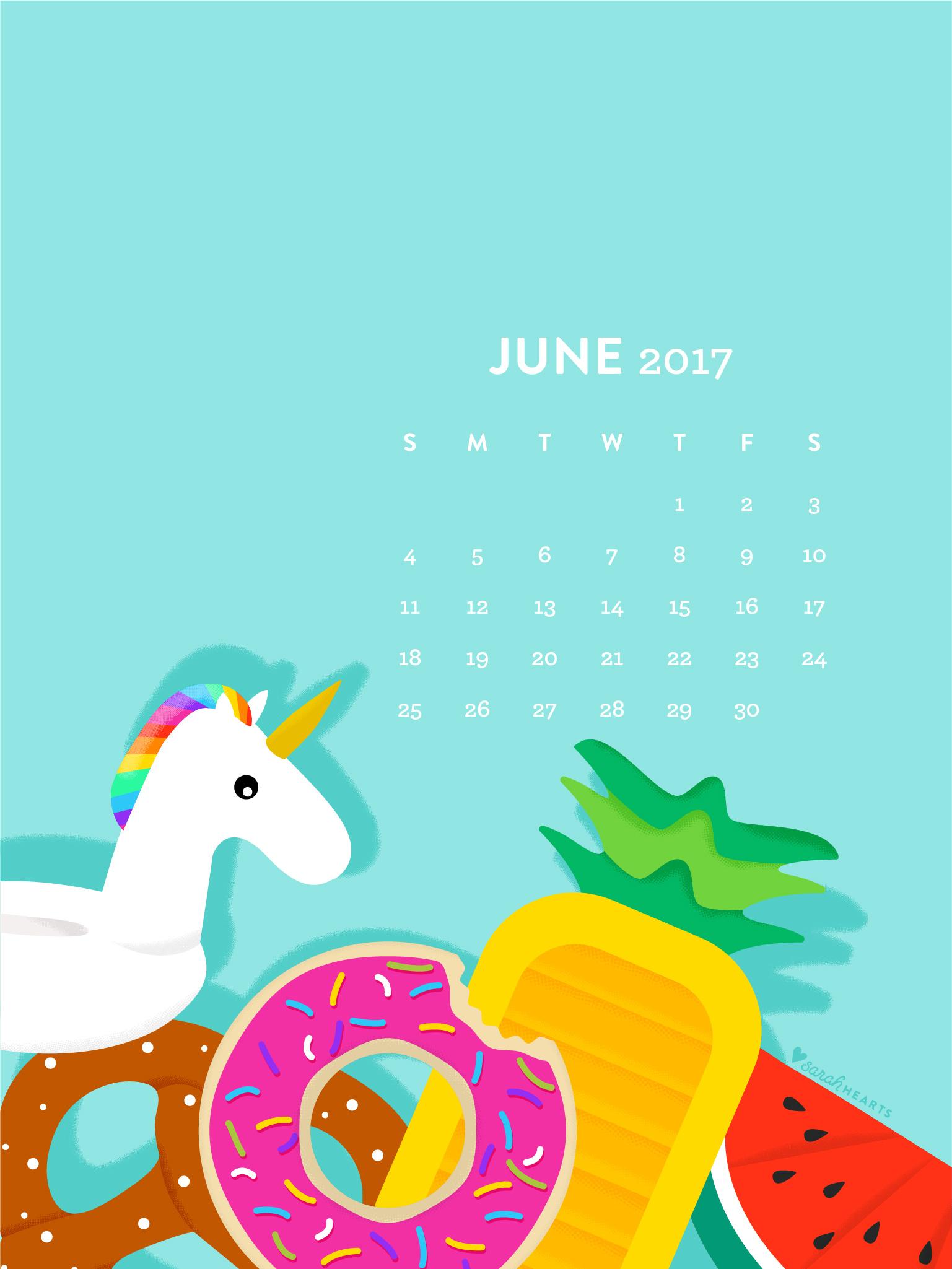 June 2017 Pool Float Calendar Wallpaper   Sarah Hearts 1537x2049