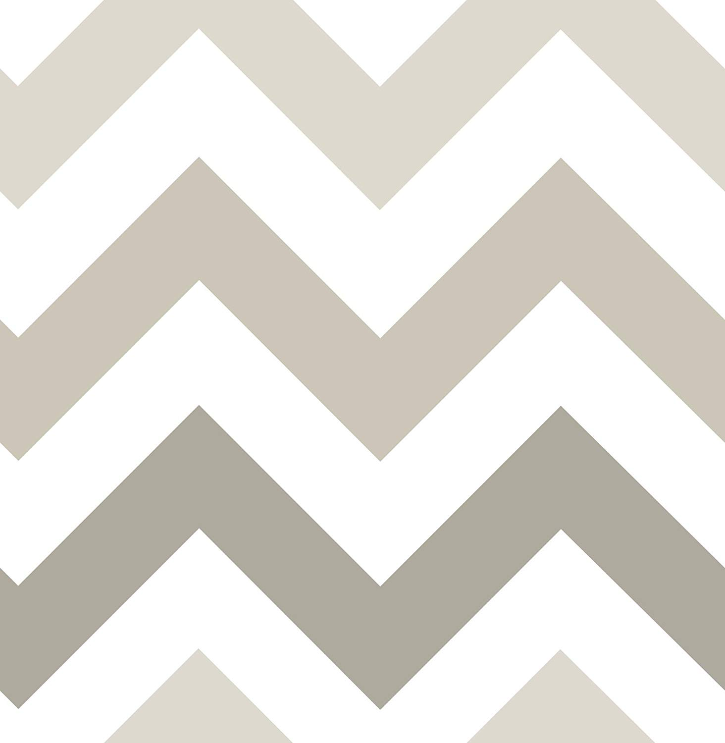 NuWallpaper Wall Pops NU1416 Taupe Zig Zag Peel and Stick Peel 1464x1500