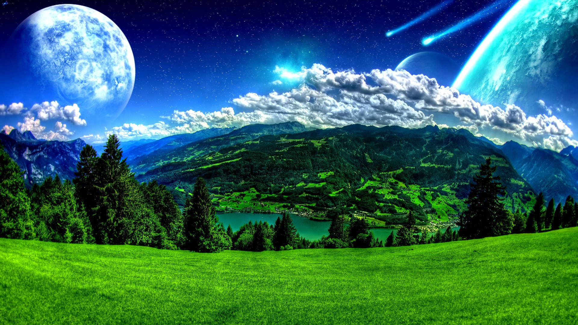Landscapes Outer Wallpaper 1920x1080 Landscapes Outer Space Moon 1920x1080