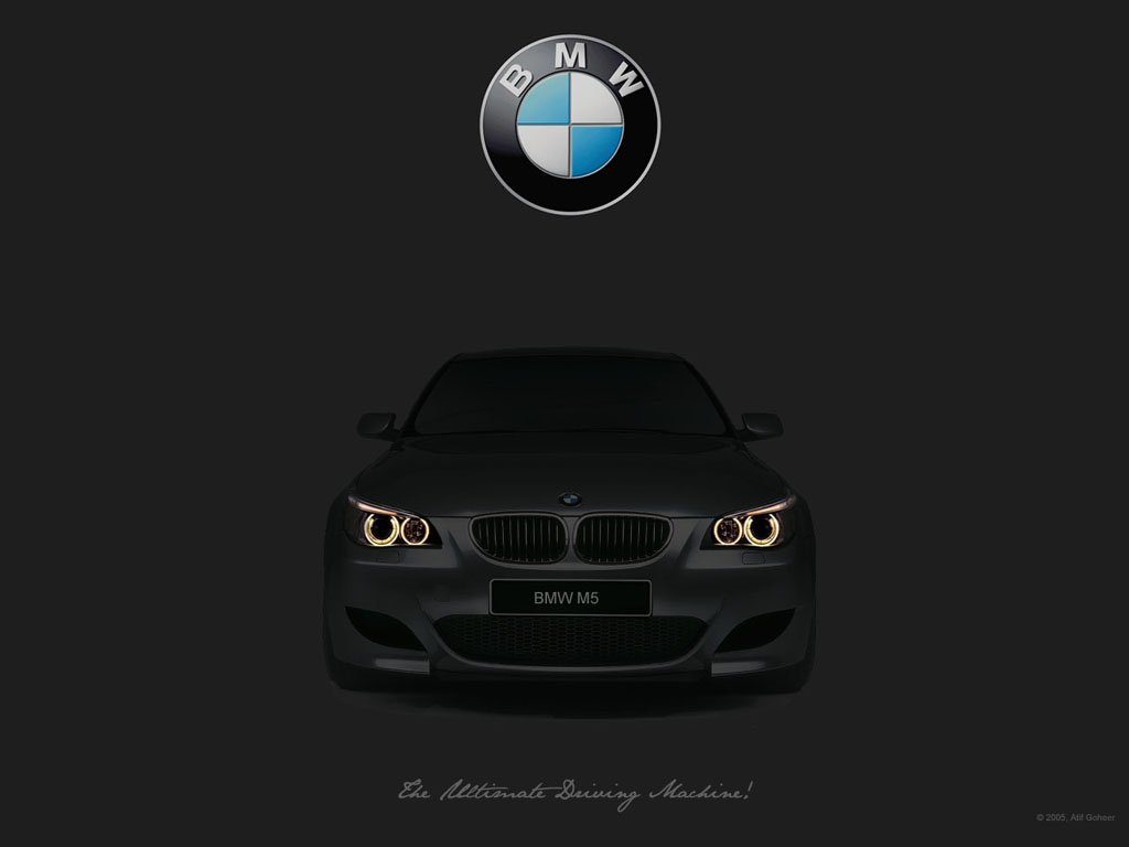 Click image for larger versionNameBMW Logo And M5 1024 With Slogan 1024x768