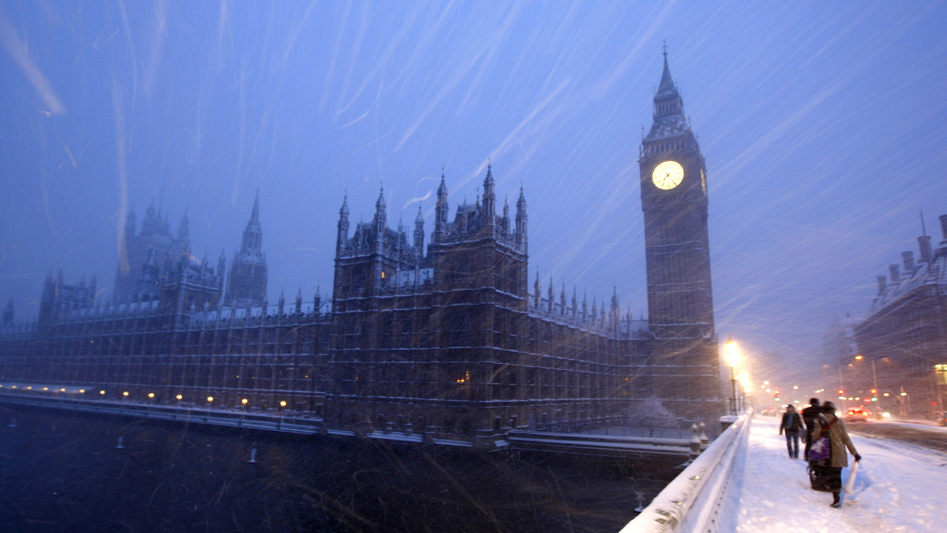 Wallpapers winter snow England London clocks Big Ben United 1920x1080