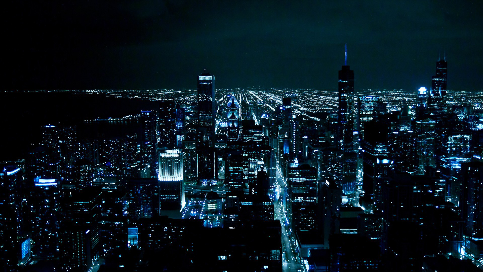 Night Night city Chicago Skyscraper wallpapers and images 1920x1080