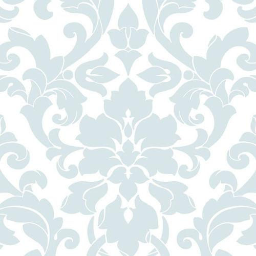Contemporary Blue and White Damask Wallpaper D Marie Interiors 500x500