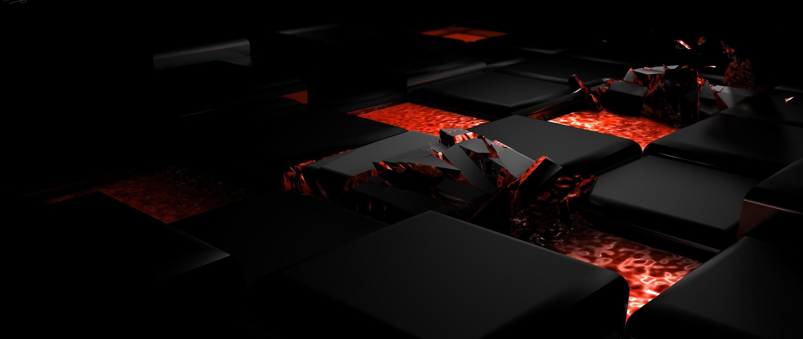 2560x1080 Wallpaper cube fire dark light alloy 2560x1080