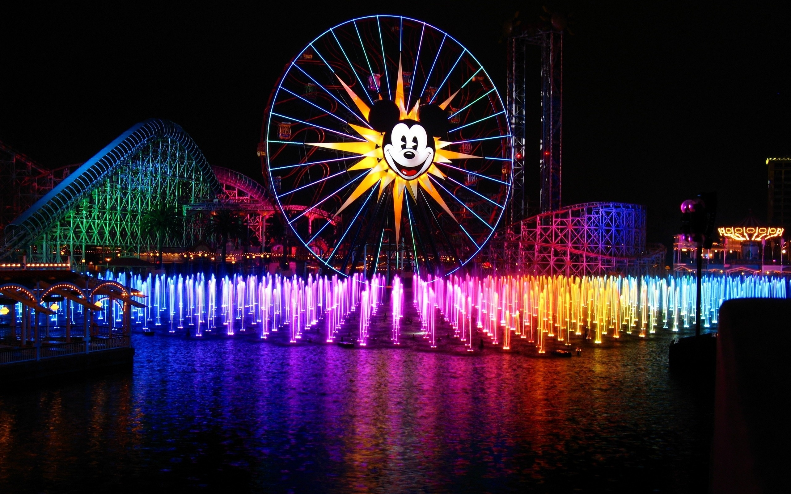 Wallpaper night fountain Disneyland Anaheim California mickey 2560x1600