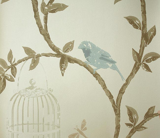 Birdcage Walk Wallpaper Trailing branches with birds in pale blue and 534x463